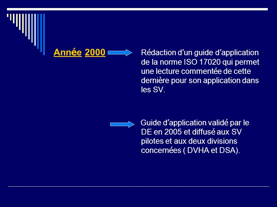 Année 2000 Rédaction d'un guide d'application