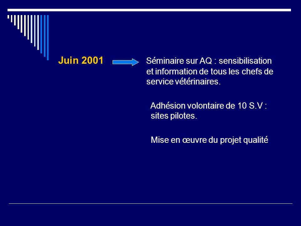 Juin 2001 Séminaire sur AQ : sensibilisation