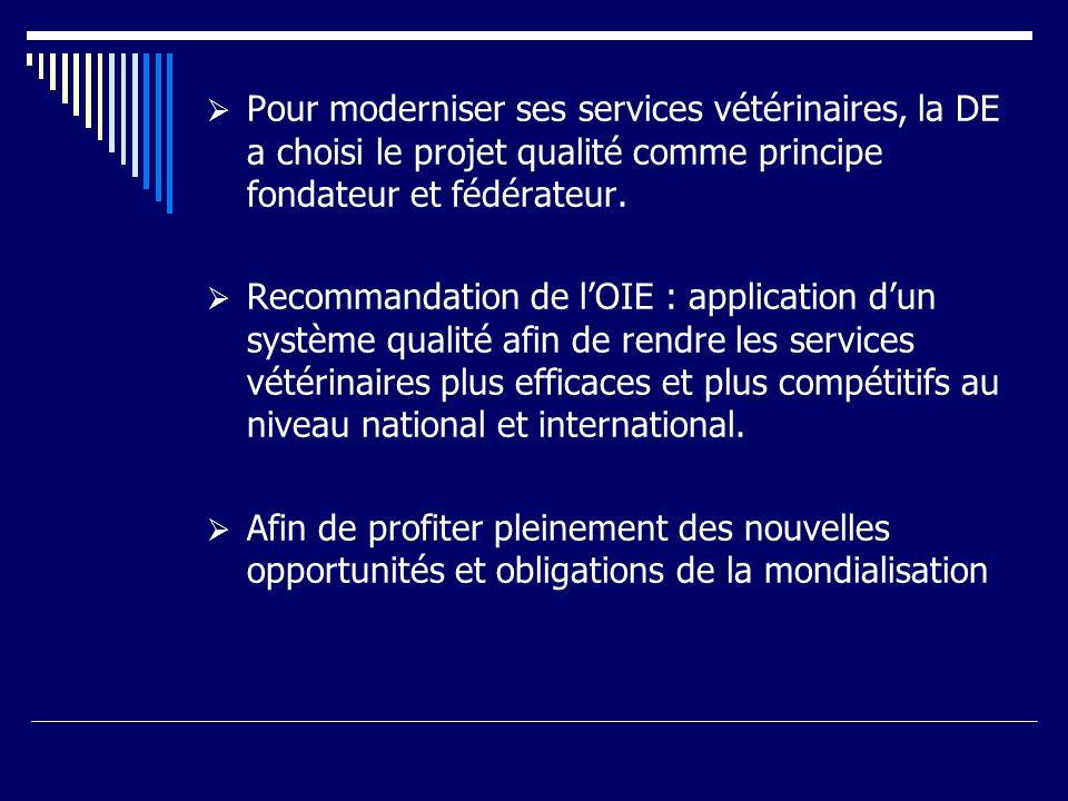 Pour moderniser ses services vétérinaires, la DE a choisi le projet qualité comme principe fondateur et fédérateur.