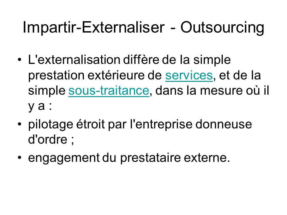 Impartir-Externaliser - Outsourcing