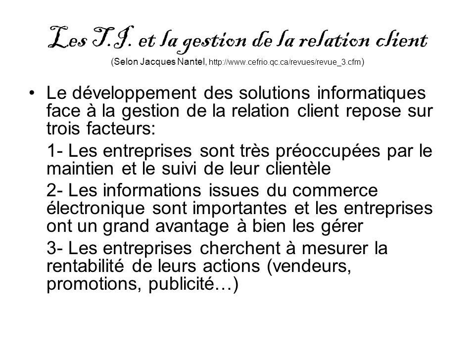 Les T.I. et la gestion de la relation client (Selon Jacques Nantel, http://www.cefrio.qc.ca/revues/revue_3.cfm)