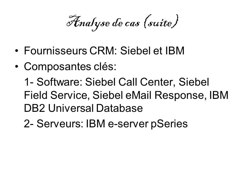 Analyse de cas (suite) Fournisseurs CRM: Siebel et IBM