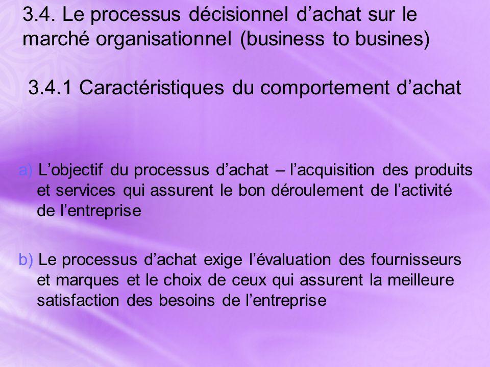 3.4. Le processus décisionnel d'achat sur le marché organisationnel (business to busines) 3.4.1 Caractéristiques du comportement d'achat