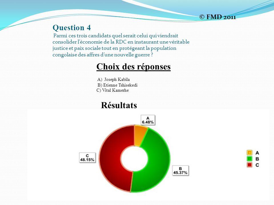 Choix des réponses Résultats