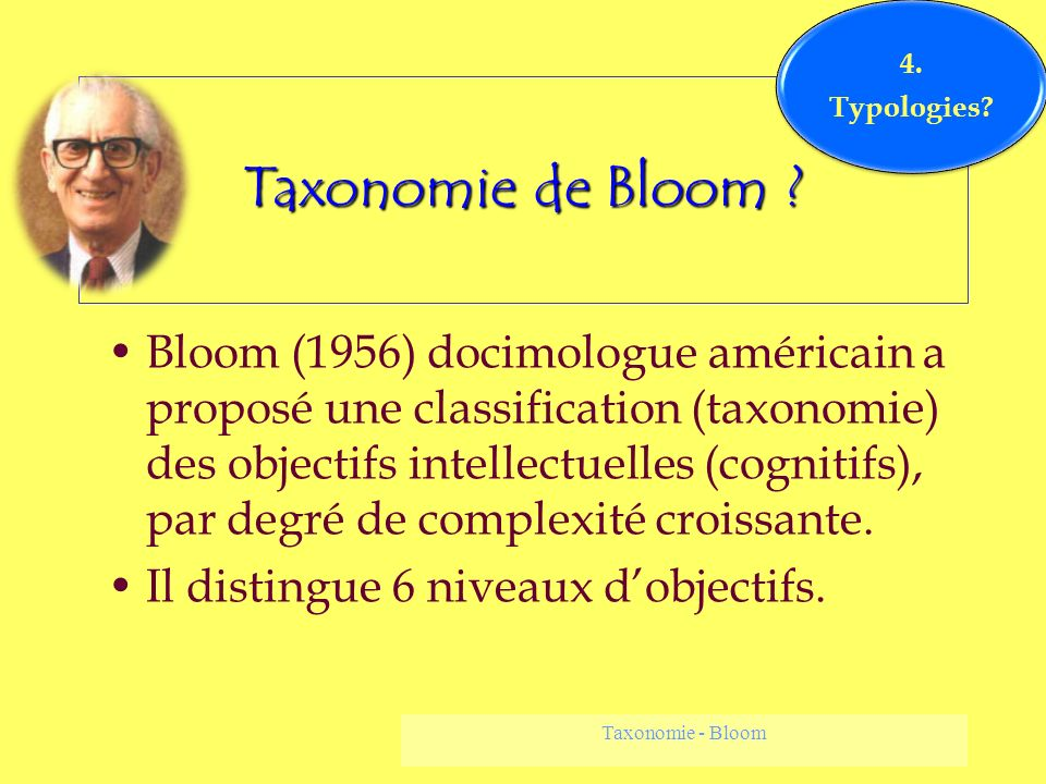4. Typologies Taxonomie de Bloom