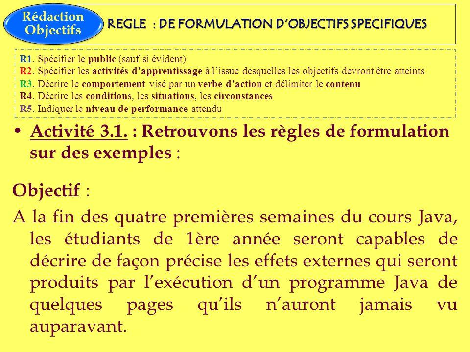 REGLE : DE FORMULATION D'OBJECTIFS SPECIFIQUES