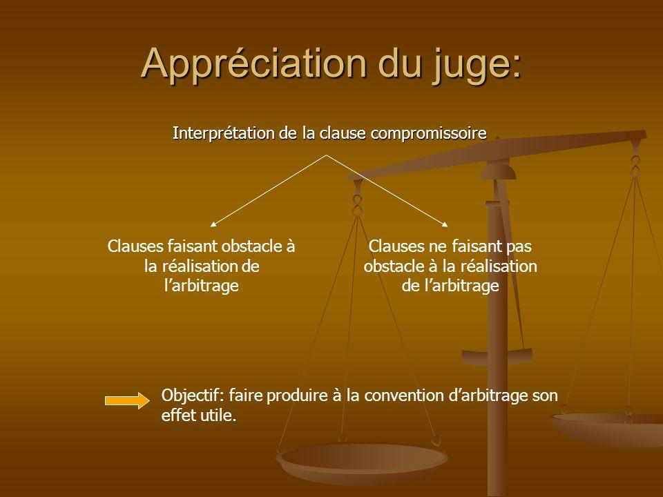 Appréciation du juge: Interprétation de la clause compromissoire