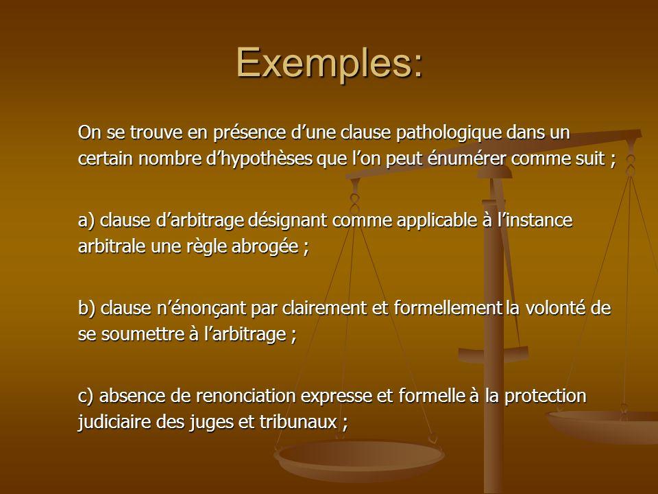 Exemples: On se trouve en présence d'une clause pathologique dans un certain nombre d'hypothèses que l'on peut énumérer comme suit ;