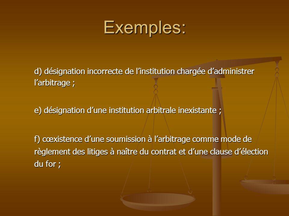 Exemples: d) désignation incorrecte de l'institution chargée d'administrer l'arbitrage ; e) désignation d'une institution arbitrale inexistante ;