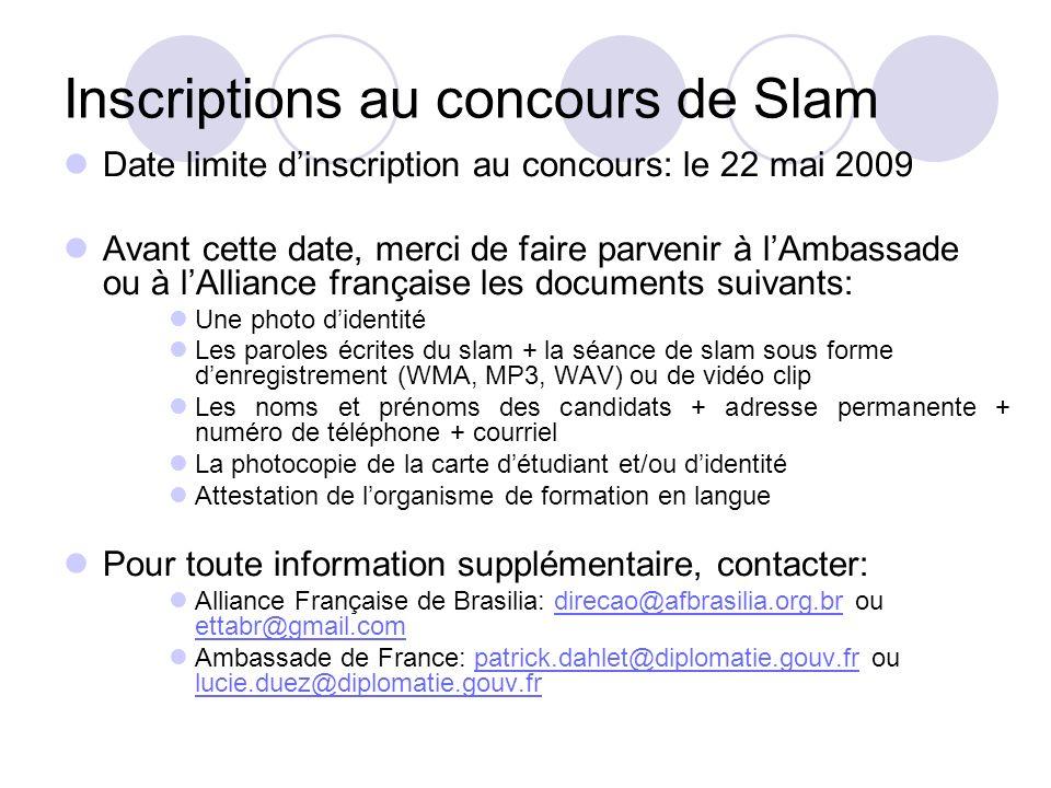 Inscriptions au concours de Slam