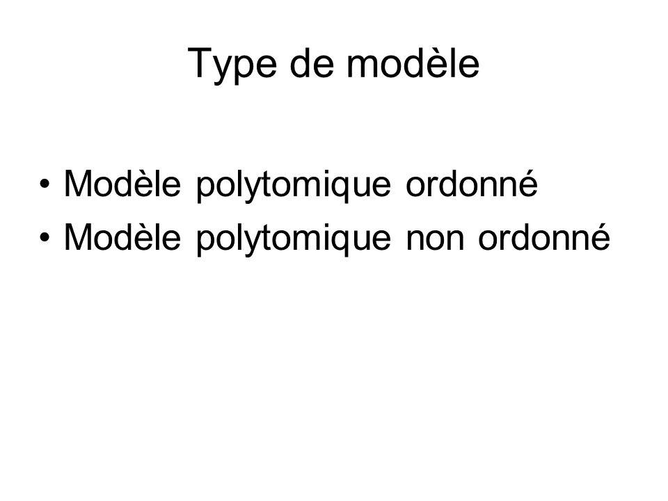 Type de modèle Modèle polytomique ordonné
