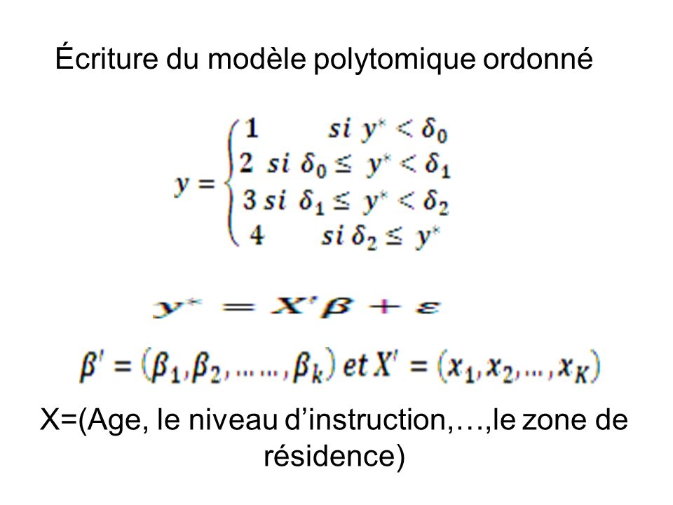 X=(Age, le niveau d'instruction,…,le zone de résidence)