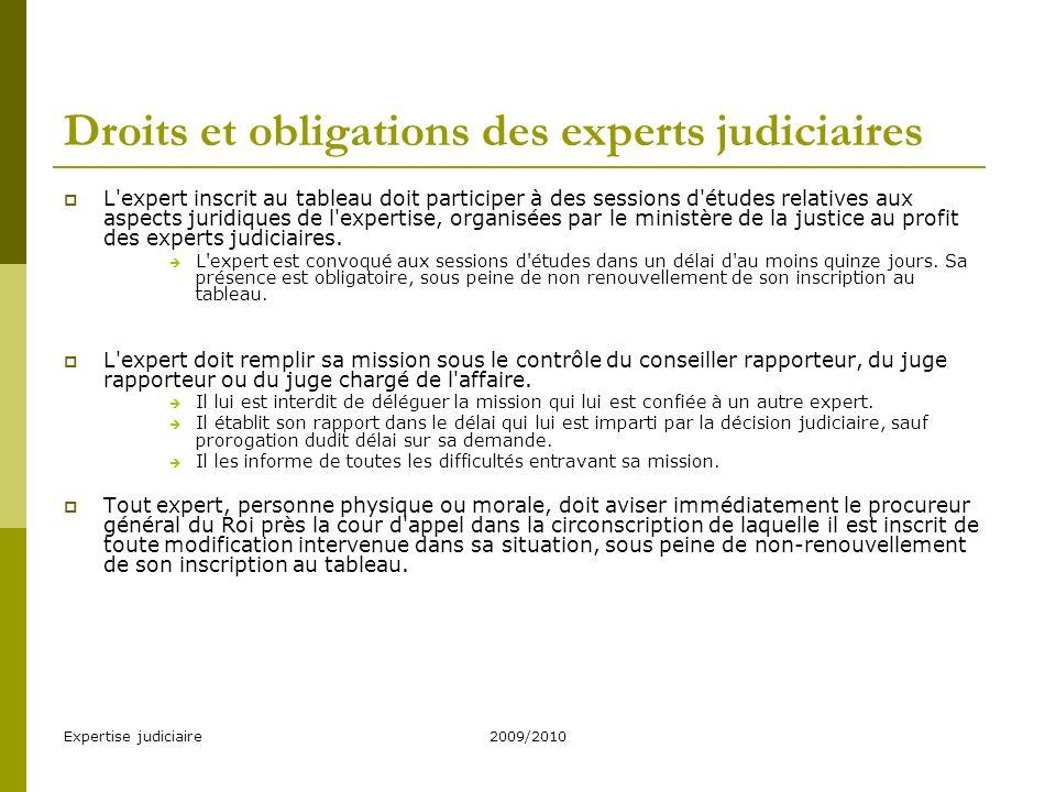 Droits et obligations des experts judiciaires