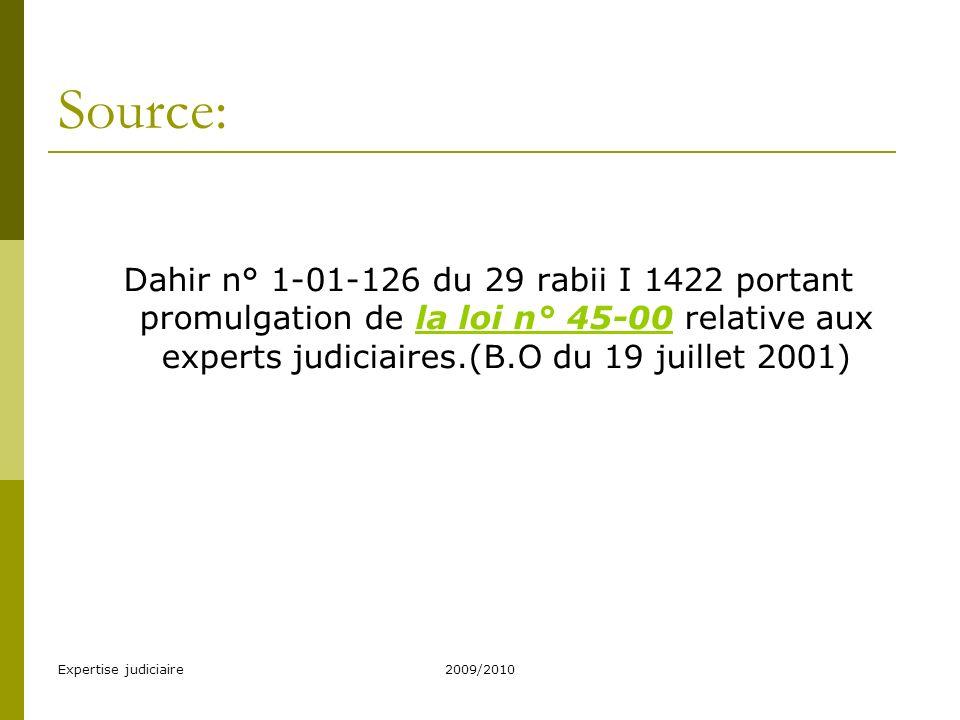 Source: Dahir n° 1-01-126 du 29 rabii I 1422 portant promulgation de la loi n° 45-00 relative aux experts judiciaires.(B.O du 19 juillet 2001)