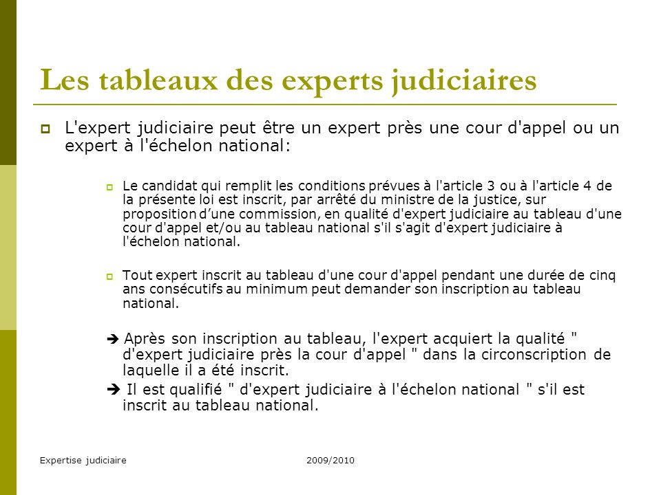 Les tableaux des experts judiciaires