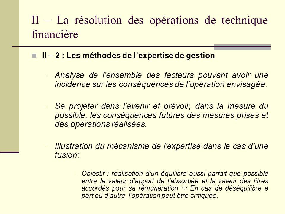 II – La résolution des opérations de technique financière