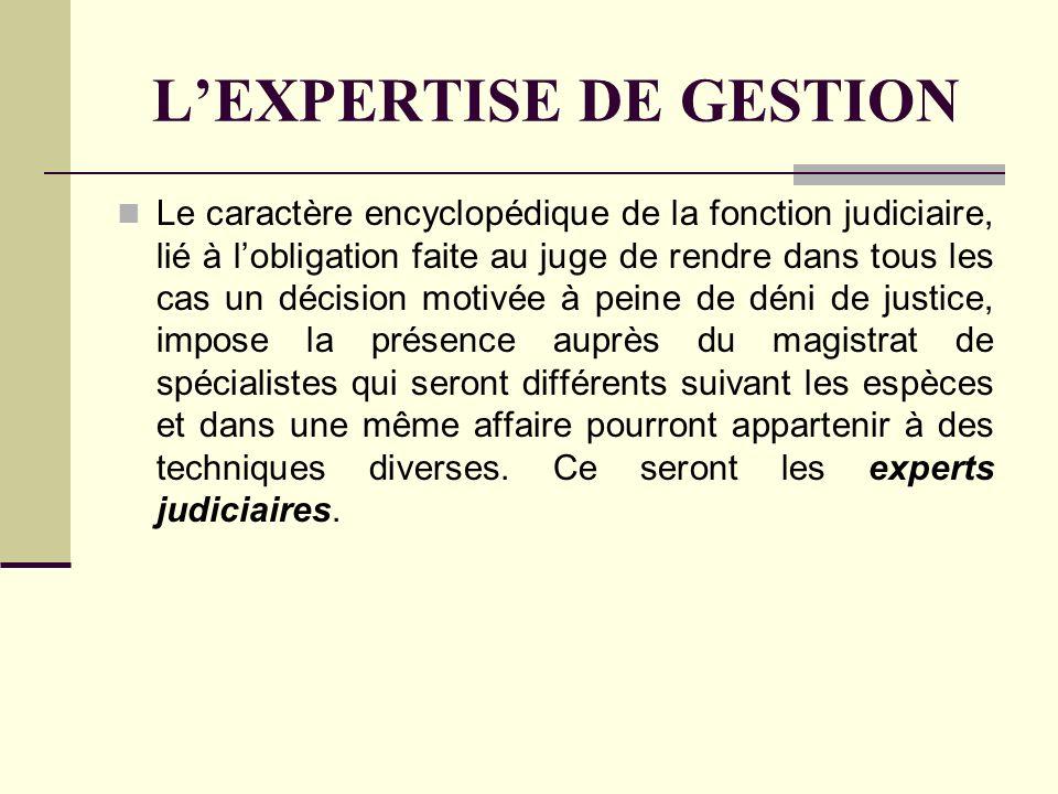 L'EXPERTISE DE GESTION