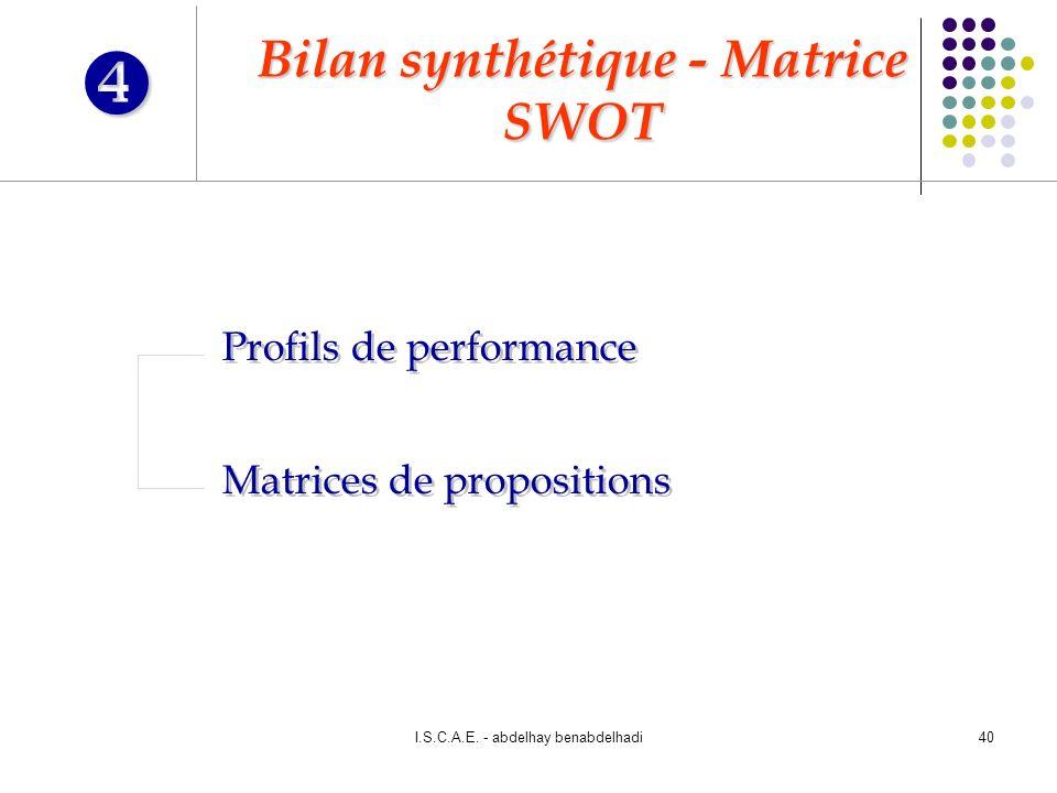 Bilan synthétique - Matrice SWOT
