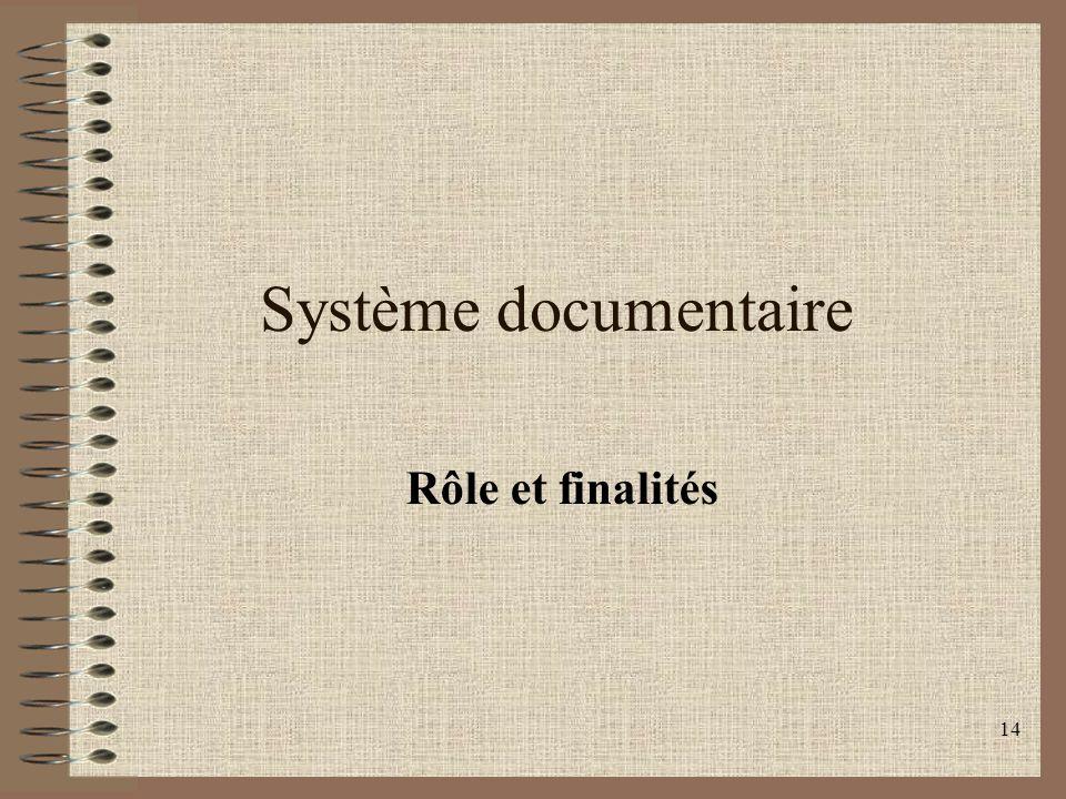 Système documentaire Rôle et finalités