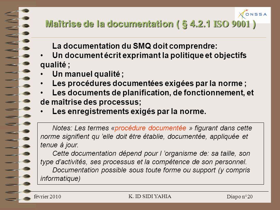 Maîtrise de la documentation ( § 4.2.1 ISO 9001 )