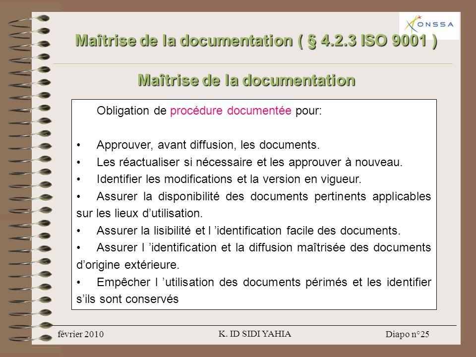 Maîtrise de la documentation ( § 4.2.3 ISO 9001 )