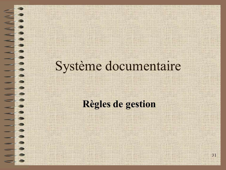 Système documentaire Règles de gestion