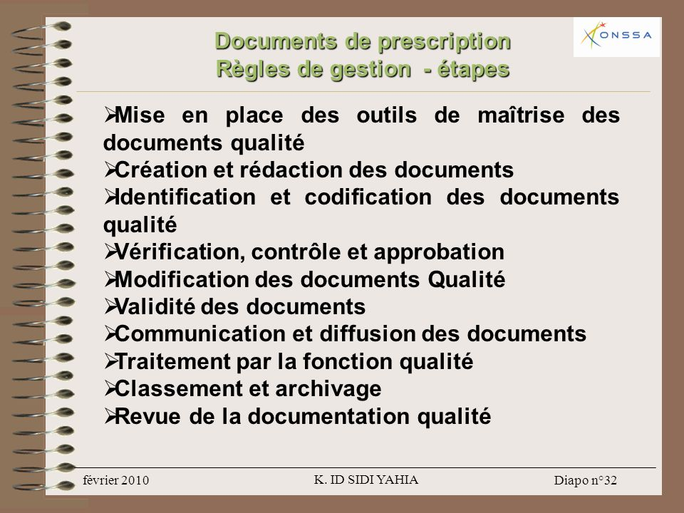 Documents de prescription Règles de gestion - étapes