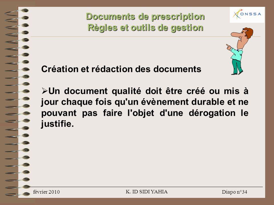 Documents de prescription Règles et outils de gestion