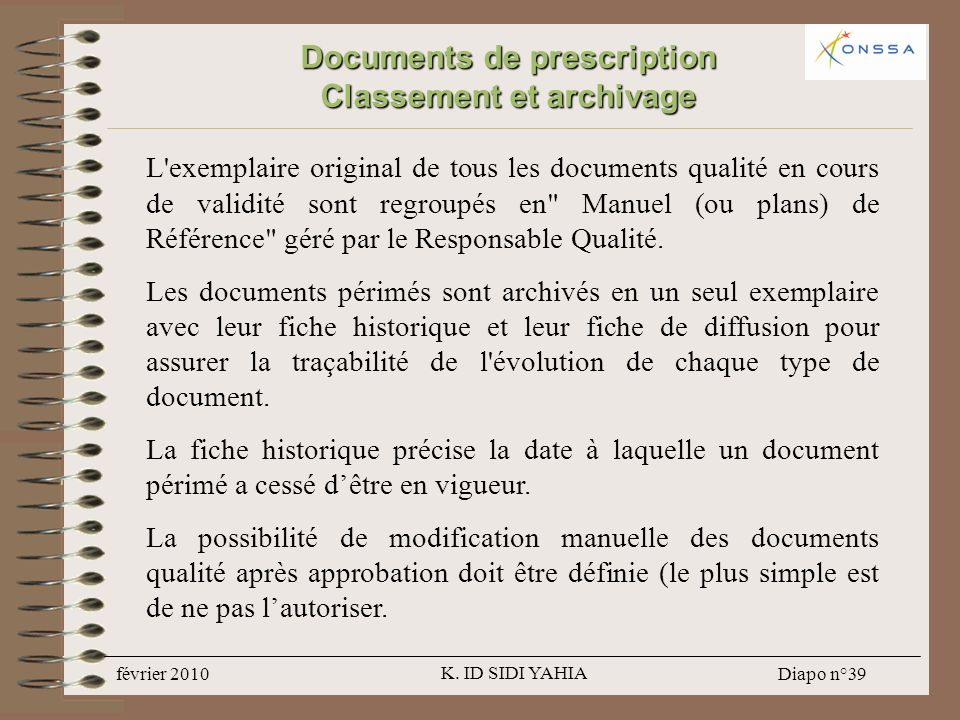 Documents de prescription Classement et archivage