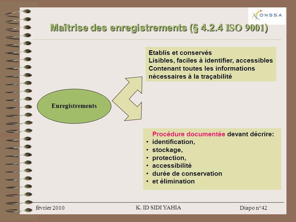 Maîtrise des enregistrements (§ 4.2.4 ISO 9001)