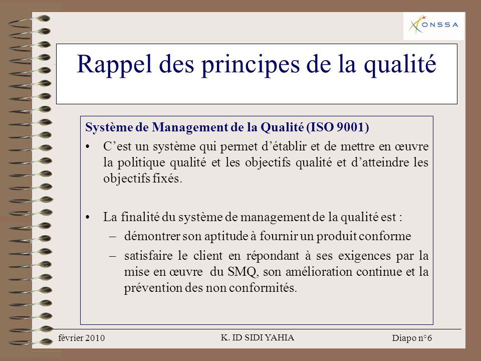 Rappel des principes de la qualité