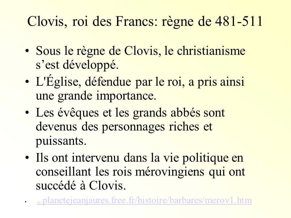 Clovis, roi des Francs: règne de 481-511