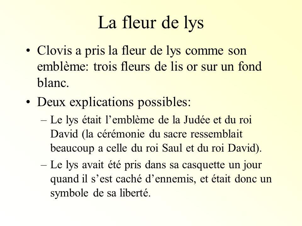 La fleur de lysClovis a pris la fleur de lys comme son emblème: trois fleurs de lis or sur un fond blanc.