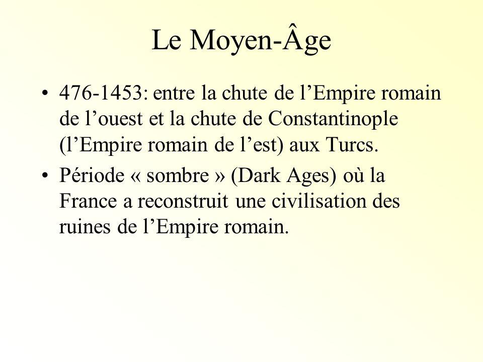 Le Moyen-Âge476-1453: entre la chute de l'Empire romain de l'ouest et la chute de Constantinople (l'Empire romain de l'est) aux Turcs.