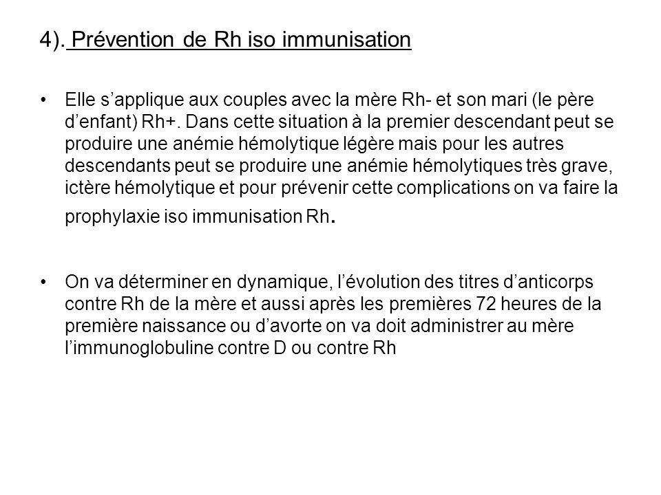4). Prévention de Rh iso immunisation