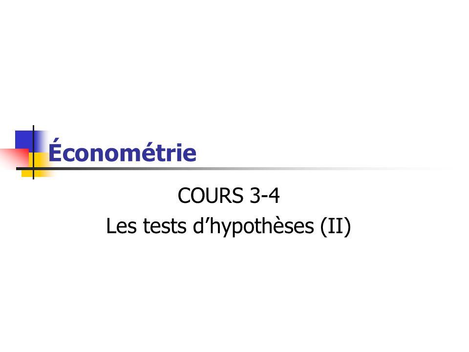 Les tests d'hypothèses (II)