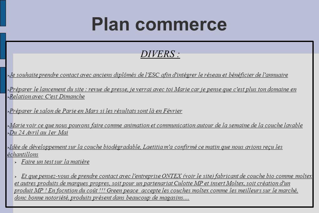Plan commerce DIVERS : Je souhaite prendre contact avec anciens diplômés de l ESC afin d intégrer le réseau et bénéficier de l annuaire.