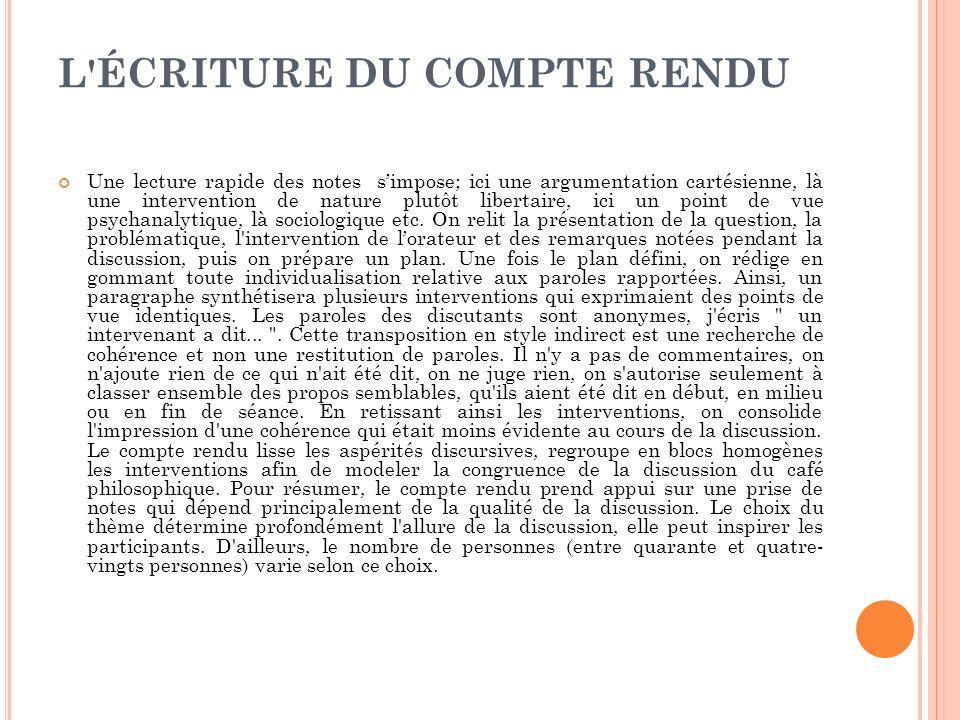 L ÉCRITURE DU COMPTE RENDU