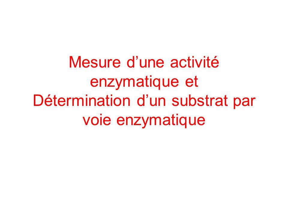 Mesure d'une activité enzymatique et Détermination d'un substrat par voie enzymatique