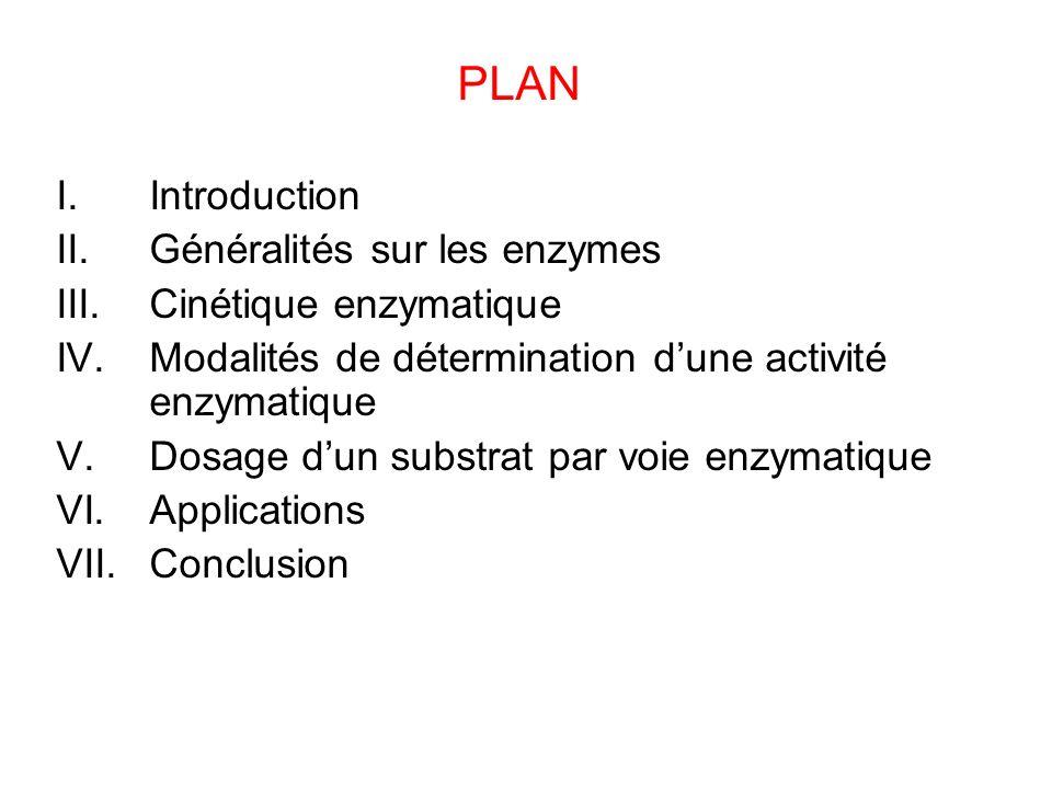 PLAN Introduction Généralités sur les enzymes Cinétique enzymatique