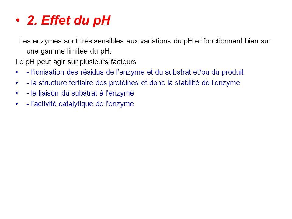 2. Effet du pH Les enzymes sont très sensibles aux variations du pH et fonctionnent bien sur une gamme limitée du pH.