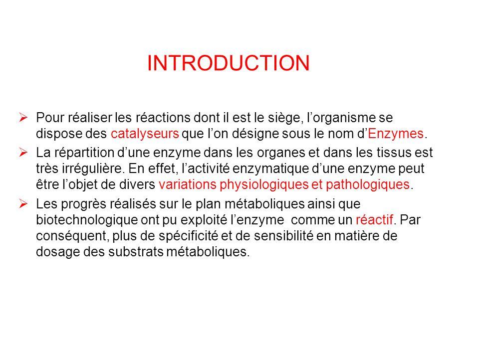 INTRODUCTION Pour réaliser les réactions dont il est le siège, l'organisme se dispose des catalyseurs que l'on désigne sous le nom d'Enzymes.