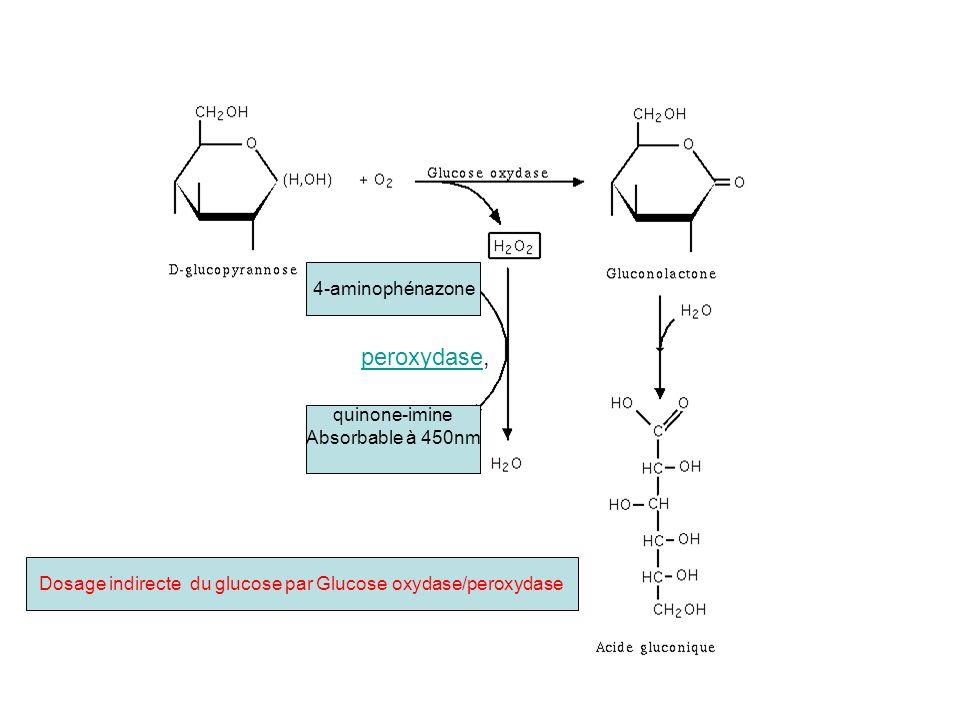 Dosage indirecte du glucose par Glucose oxydase/peroxydase