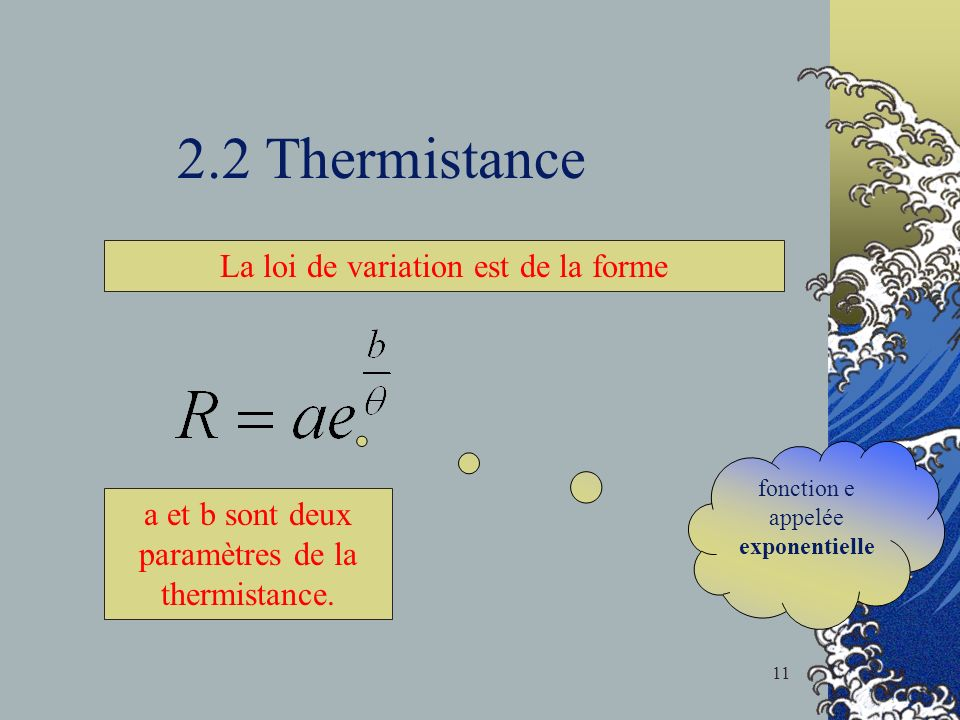 2.2 Thermistance La loi de variation est de la forme
