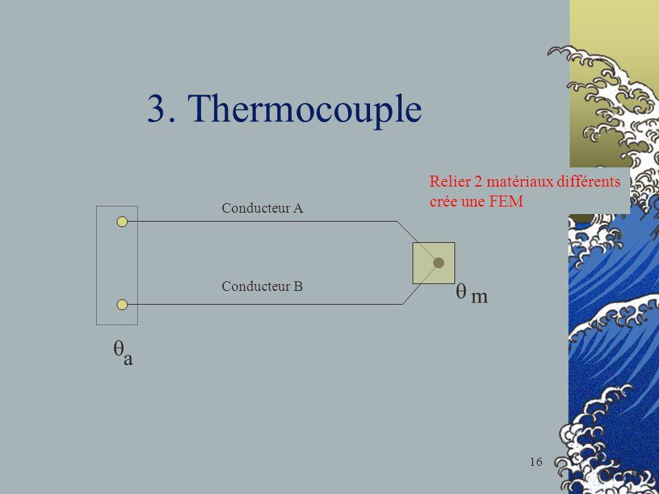 3. Thermocouple q m q a Relier 2 matériaux différents crée une FEM