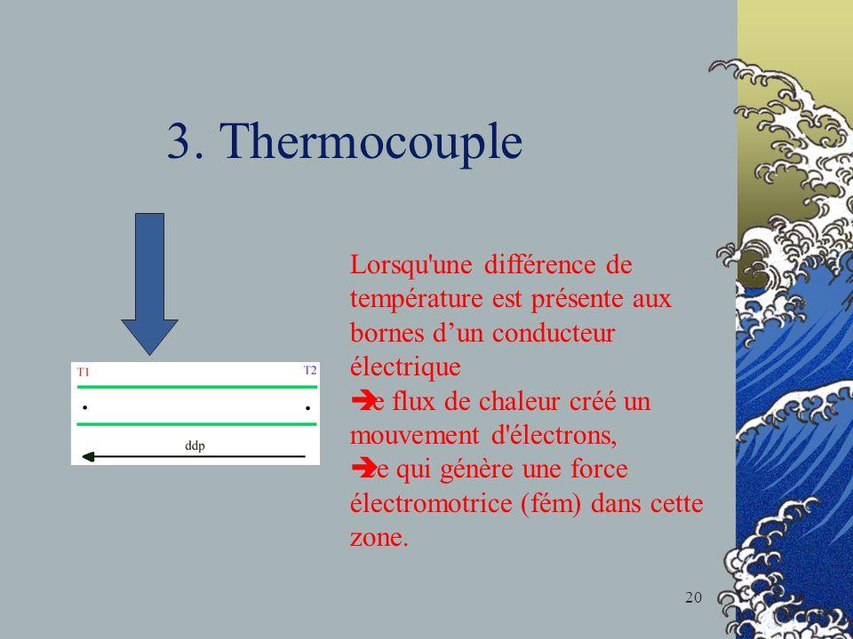 3. Thermocouple Lorsqu une différence de température est présente aux bornes d'un conducteur électrique.