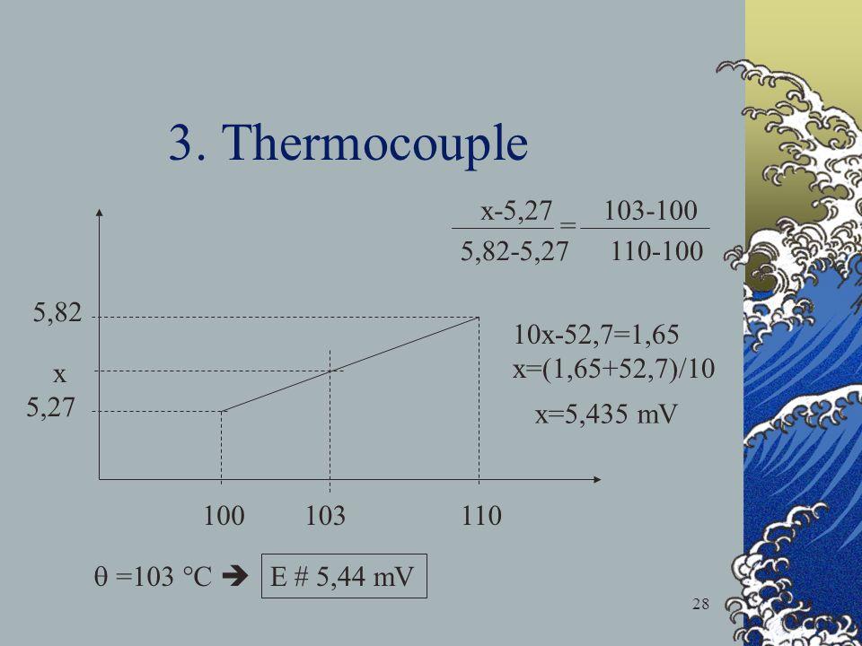 3. Thermocouple x-5,27 103-100 = 5,82-5,27 110-100 5,82 10x-52,7=1,65
