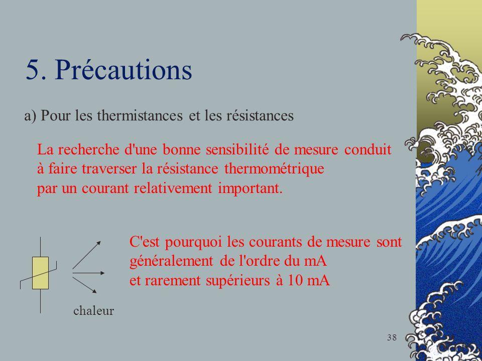 5. Précautions a) Pour les thermistances et les résistances