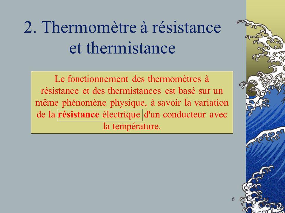 2. Thermomètre à résistance et thermistance