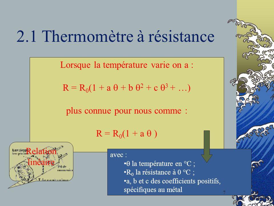 2.1 Thermomètre à résistance